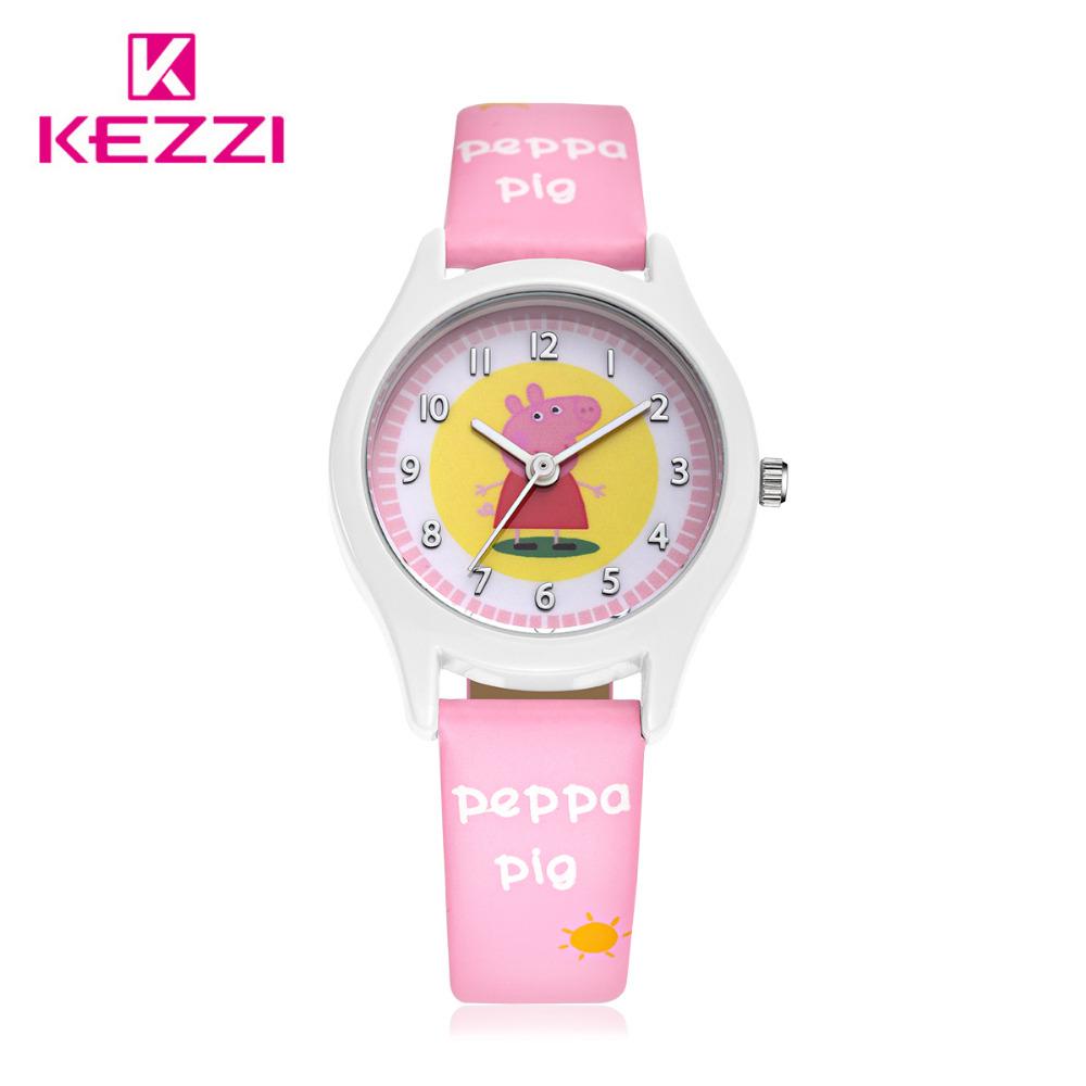 KEZZI Children Watch New Style Kids Girls Boys Cute Cartoon Watch Lovely Student Pig Pattern Leather Casual Watch Relogios Clock