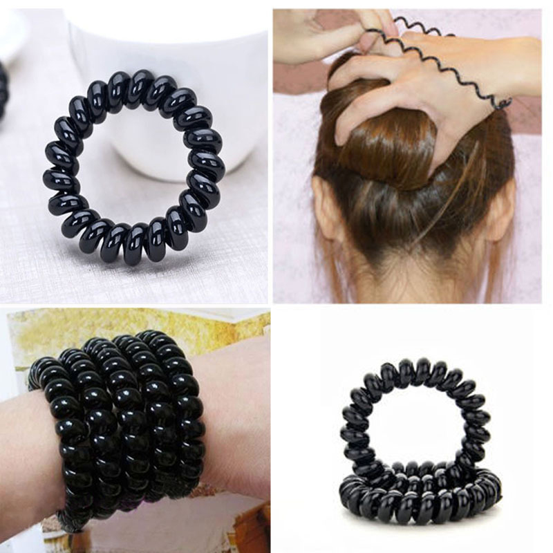 Detail Feedback Questions about 4pcs Black Elastic Hair Bands Telephone  Wire Line Rubber Gum For Hair Bands Hair Accessories for Women Headband  Girl ... f578409bf66