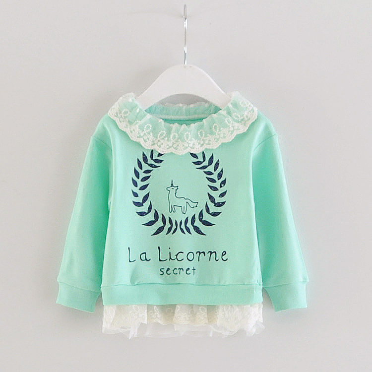 Горячая 2015 мода новорожденных девочек футболки, Письмо кружевной воротник малыша новорожденных девочек весна прекрасные топы