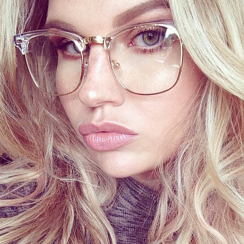 81ca222611a2 Wholesale-Half Frame Clear Glasses Myopia Clear Frame Glasses Women ...
