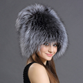 Bomber Hats Fur Women Real Fox Animals Fluffy Fur Pompom Hat Cap Style Solid New Russian