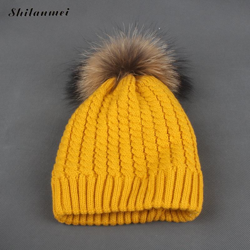 cbd0851af0e08 2017 Winter Fur Hat For Women Ladies Knit Beanie Winter Hat Fur Pom ...
