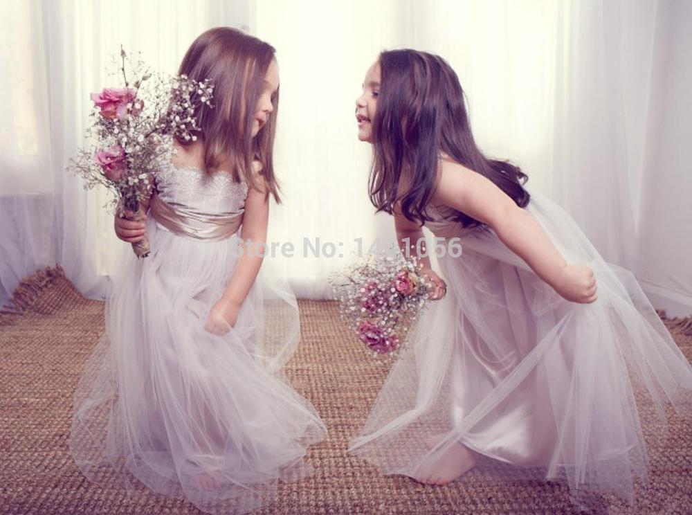 Compra Beige Vestidos De Dama De Honor Online Al Por Mayor: Compra Vestido Plateado Niña De Las Flores Online Al Por
