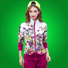 Women Tracksuits Sport Suits 2016 Spring Autumn Fashion Floral Print Leisure Sportwear Two piece Sweatshirt Pants