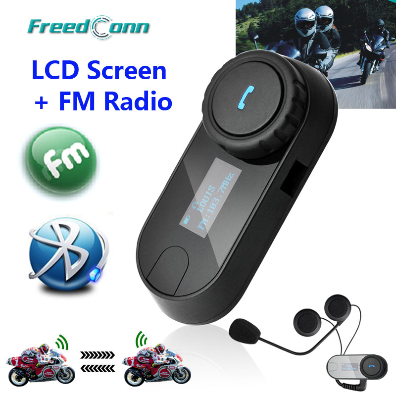 2015 New Updated Version!!2PCS (3280ft) BT Bluetooth Motorcycle Helmet Intercom Interphone Headset with LCD screen + FM Radio