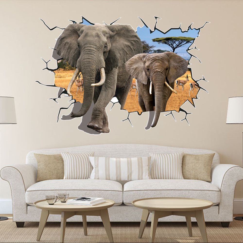 8006 Hot Selling Delicate African Animal Elephants Antelope Wall Sticker Bedroom 3D Wall Decor 70*100cm home Decor free shipping