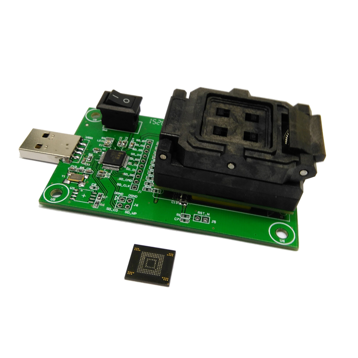 eMMC153/169 socket with USB nand flash test socket size 14x18 Pin Pitch 0.5mm for BGA169 BGA153 testing Clamshell Structure