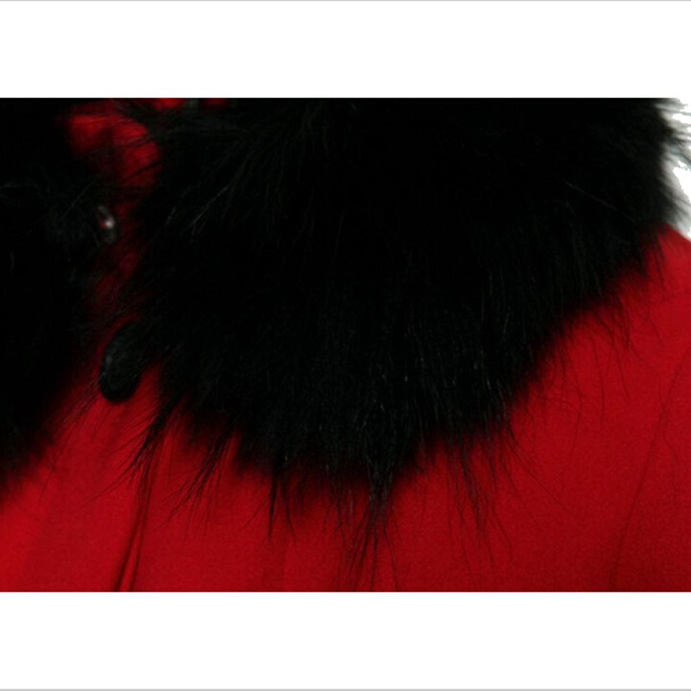 Женщины приталенный искусственного лисий мех воротник элегантный тёплый зима осень длинный рукав Casaco Feminino шерстяная ткань кашемир пиджаки пальто 81009