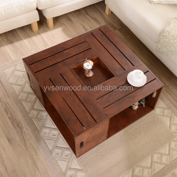 Cheap Price Square Wooden Coffee Table With Open Shelf Storage