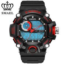 SMAEL Analógico Digit LED Esporte Relógios Homens 50 M À Prova D' Água S Choque Dual Time Relógios Casuais relogio Militar masculino Presente WS1385