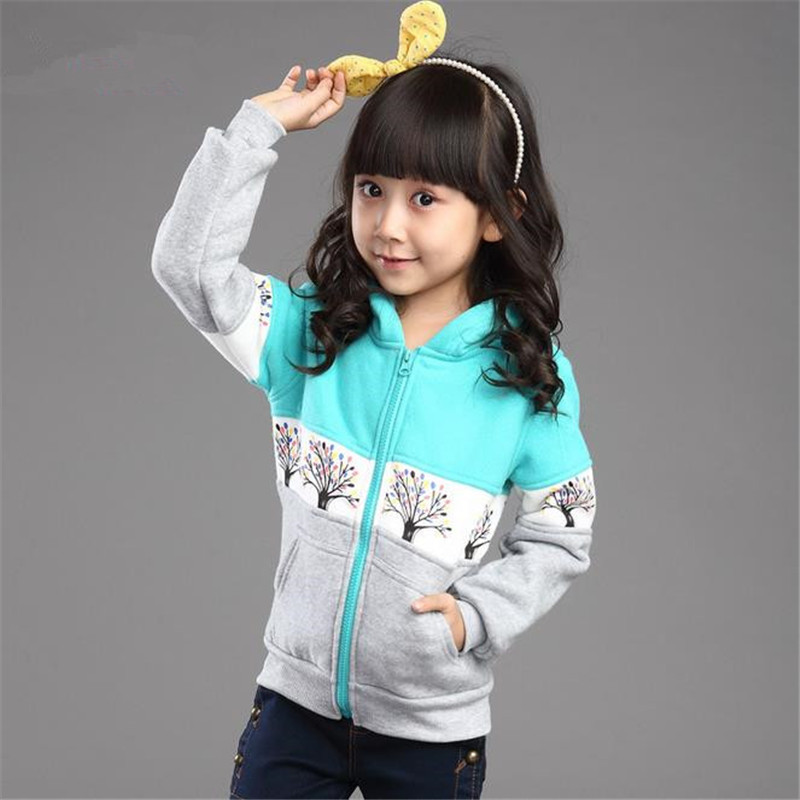 New Style 2015 Girls Hoodie Coats Autumn Winter Long Sleeve Print Jackets Children s Outwear Sweatshirts