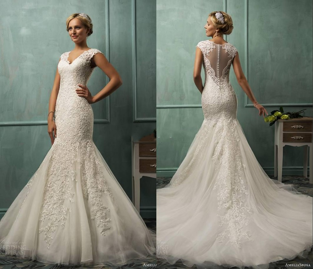 Lace Fit And Flare Wedding Gown: 2015 V Neck Cap Sleeve Lace Tulle Mermaid Wedding Gowns