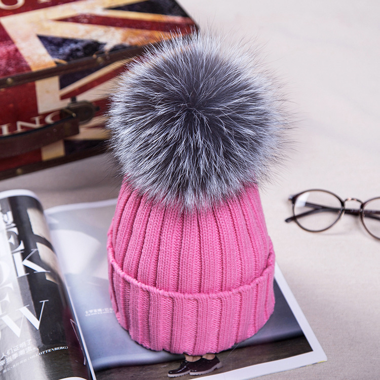 15cm Real Fox Fur Ball Cap Pom Poms Winter Hat For Women Girl  s Wool Hat  Knitted Cotton Beanies Cap Brand Thick New Female Crochet Beanie Beanies  For Girls ... 7a228ed412