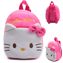 2016 High Quality Rose Red Hello Kitty Plush Cartoon Toy Backpack Girl Character School Bag Gift For Kids Mochila Infantil