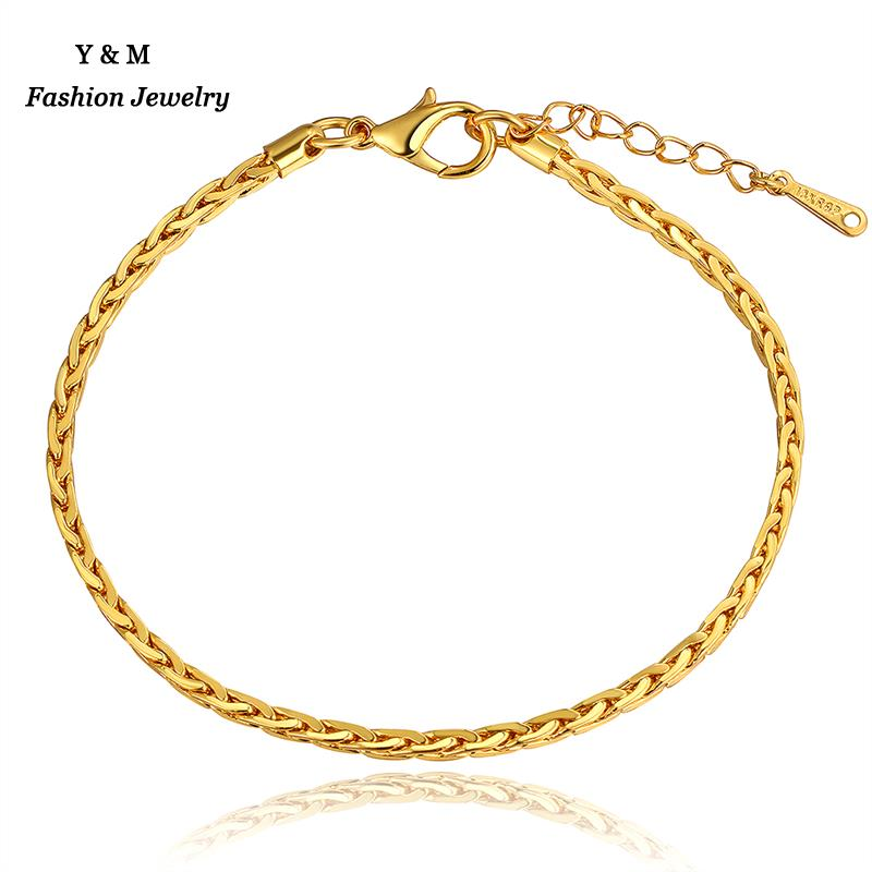 Thin Gold Chain Bracelet: New Style Men Women Thin Chain Bracelets Two Colors Rose