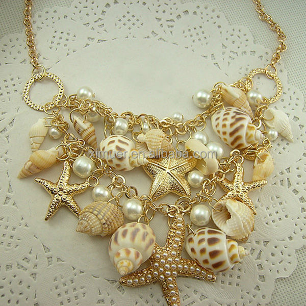 Fancy Gold Chain Starfish Pearl Sea Shell Necklace Buy