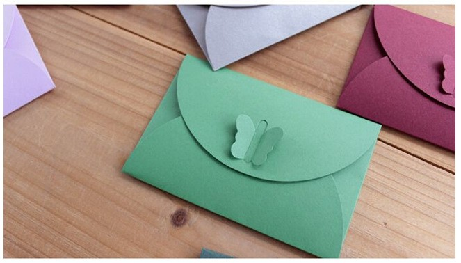 Colored Butterfly Buckle Kraft Paper Envelopes Simple Love Retro