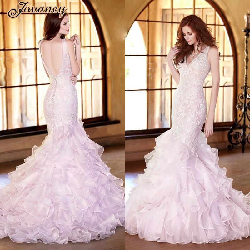 Red Wedding Gowns 2014: Custom 2014 Mermaid Blush Pink Wedding Dresses V Neck Low