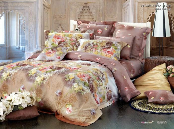 Brown khaki floral satin egyptian cotton comforter bedding ...