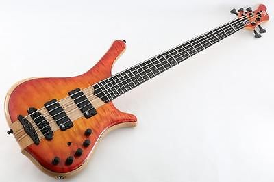mayones 5 string bass guitar orange personalized neck through body flamed maple top and back. Black Bedroom Furniture Sets. Home Design Ideas