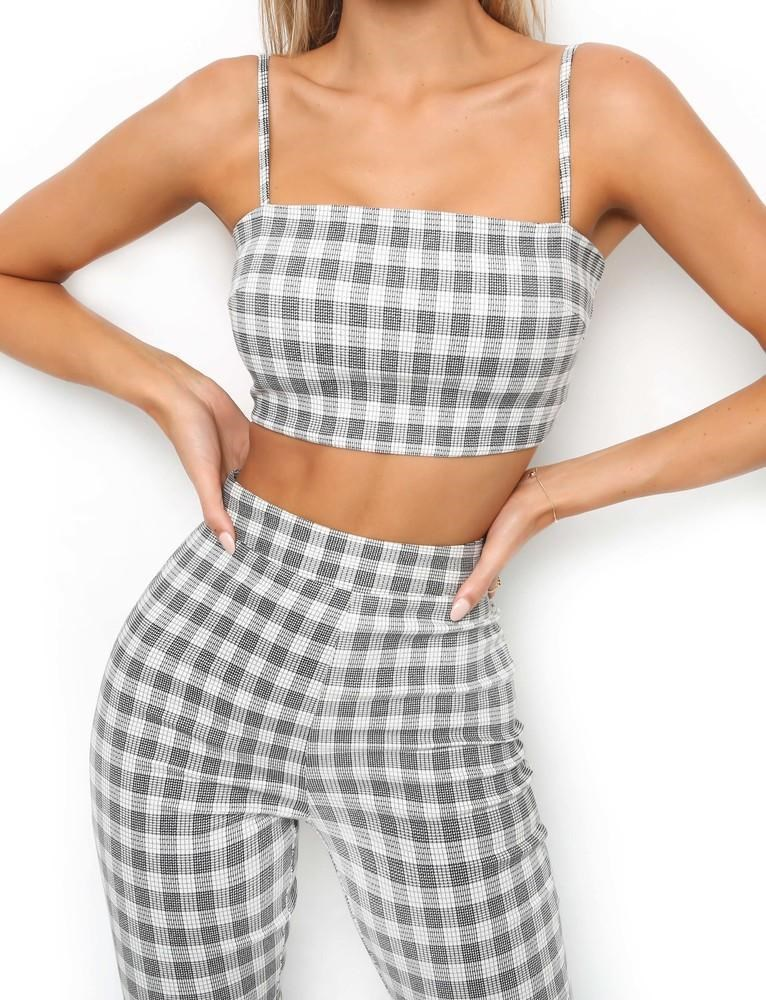 af7e58e14 Sexy Tracksuit Plaid Print 2 Piece Set Outfis Short Women Strap Tank Crop  Top And Long Bell Bottoms Pants Suit Streetwear