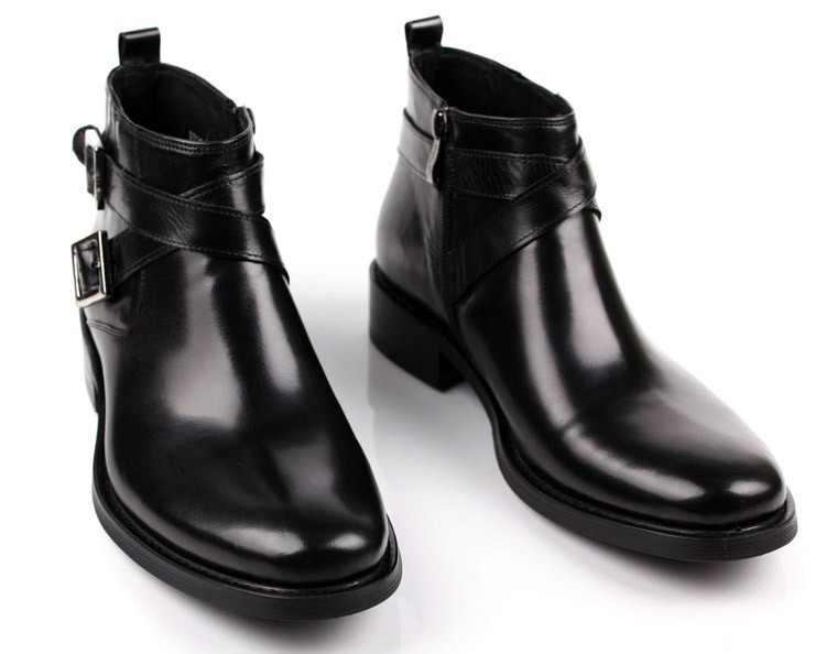 Großhandel Große EUR46 Schwarz Tan Doppelte Schnalle Business Schuhe Herren Stiefel Aus Echtem Leder Kleid Stiefel Herren Stiefeletten Von