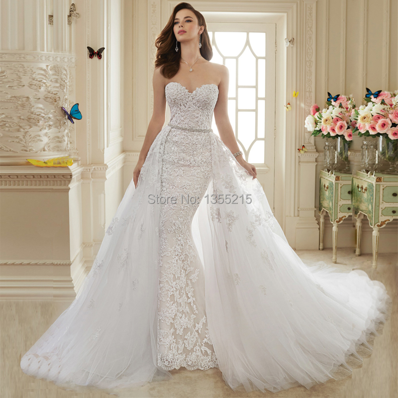 Wedding Gown With Removable Train: Gorgeous Style Elegant Off The Shoulder Mermaid Wedding