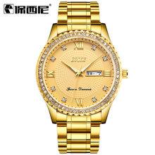 Роскошные мужские кварцевые часы брендовые стальные часы с календарем 30 метров Rolexable водонепроницаемые мужские кварцевые часы золотые час...(Китай)