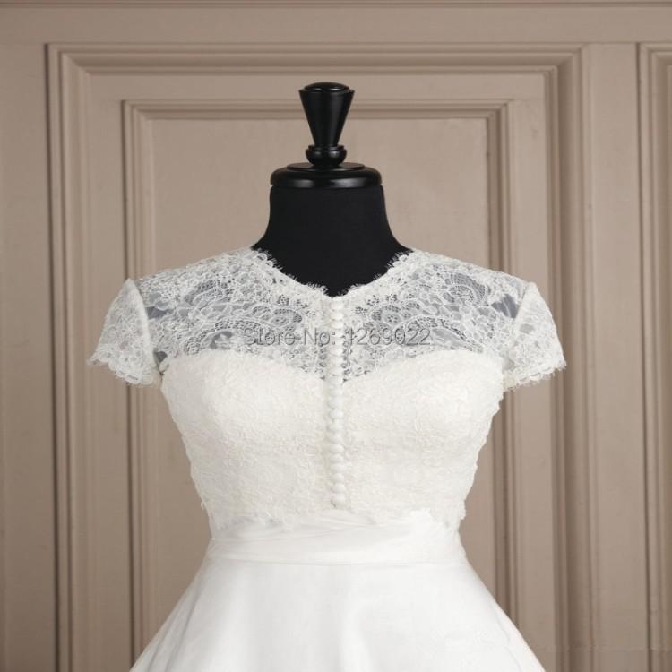 White Wedding Dress Jacket: 2014 Hot Sale!!!Fashion White Lace Beaded Buttons Wedding