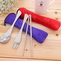 2016 Hot Sale 1 Set Traveling Camping Picnic Dinner Stainless Steel Spoon Fork Chopsticks Spork Cutlery