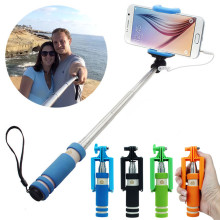 Portable Mini Folding Mobile Phone Wired Self Selfie Sticks For Iphone Samsung Colorful Built-in Shutter Camera Monopod Tripod