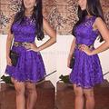 2015 New Fashion Sexy Vestidos Women Summer Slim Casual Floral Sleeveless Lace Bodycon Party Short Mini