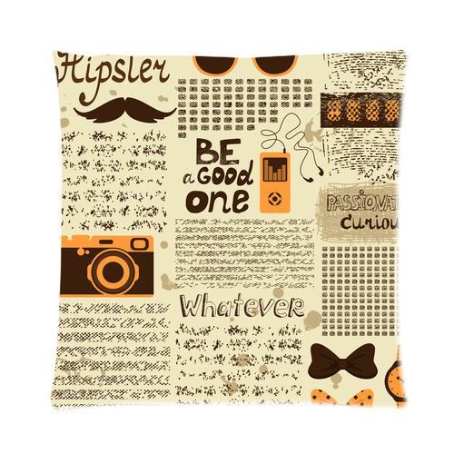Custom Fashion Hipster seamless vintage newspaper Zippered pillow Case 16 IN x 16 IN (one side)