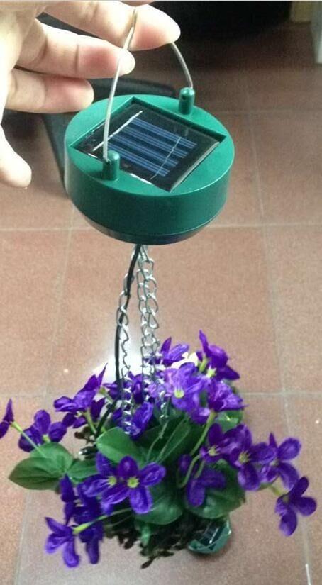 Solar Hanging Flower Basket Light Solar Artificial Flower