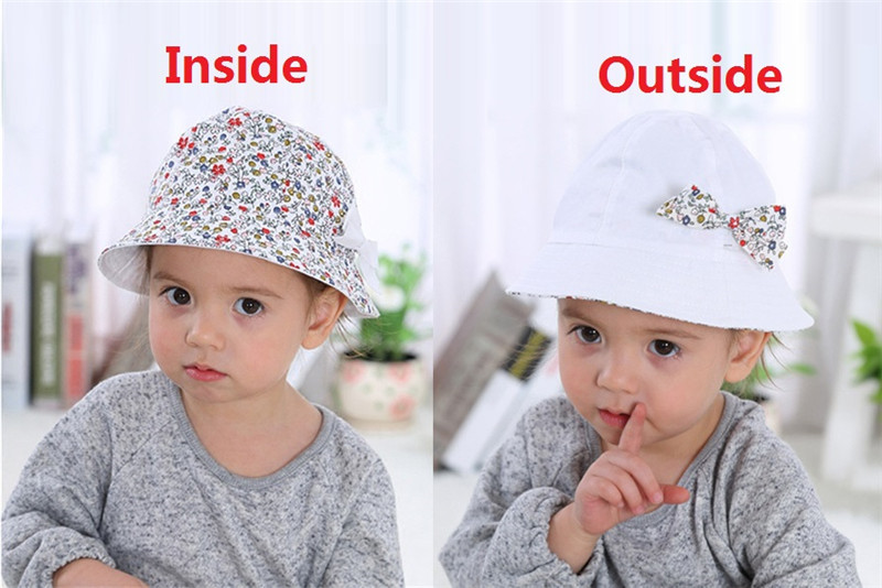 9be51ce4d1f5 Summer Baby Girls Sun Hat Cotton Baby Hat Kids Child Cap Bowknot ...