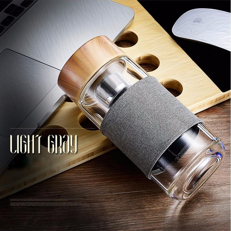 400 мл стеклянные бутылки для воды с фильтром из нержавеющей стали для заварки чая на открытом воздухе портативный стакан для питьевой воды д...(Китай)