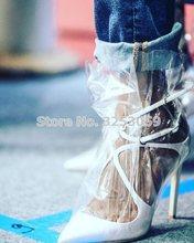 ALMUDENA/туфли-лодочки с острым носком и перекрестной шнуровкой в стиле знаменитостей; Цвет розовый, белый; Прозрачные модельные туфли-лодочки ...(Китай)