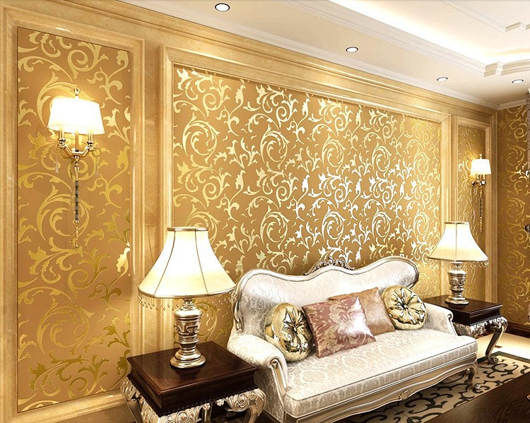 Wholesale Gold Silver Beige 3 Modern 3d Wallpaper Roll