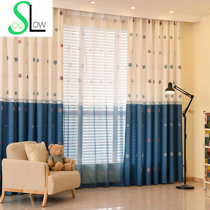 stars printed curtain for children living room volie tulle curtains patchwork cortinas. Black Bedroom Furniture Sets. Home Design Ideas