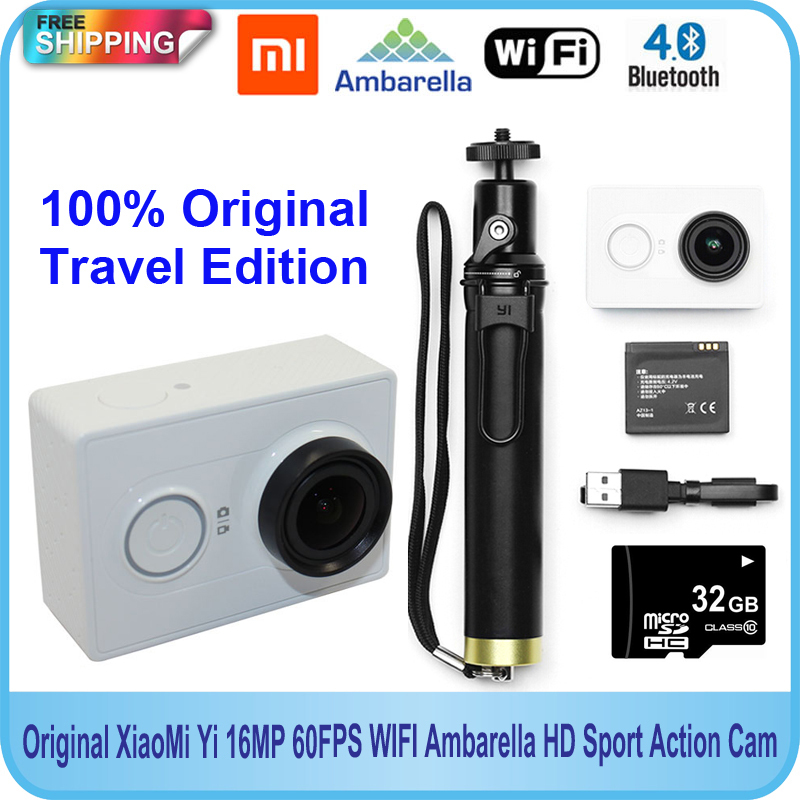 Free Shipping!!Original 32GB +Original Xiaomi Yi Action camera 16MP 60FPS 1920x1080p WIFI Bluetooth 4.0 Standard Travel Edition
