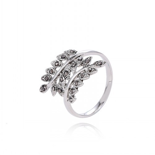 Classical Never Fade Platinum Plated Olive Branch Rings CZ Diamond Personality Ring Jewelry For Women