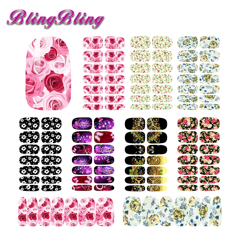 aeProduct.getSubject() Flower Designs Nail Stickers Beauty Penoy Theme  Water Transfer Nail Art Stickers Foils ... fef8d9586147