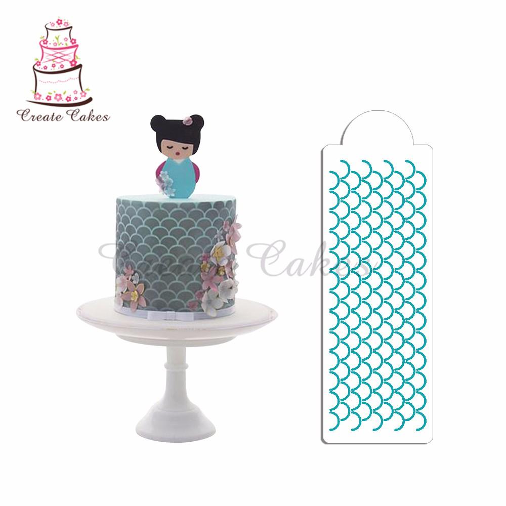 Scalloped Print Cake Stencil for Cake Design Plastic ...