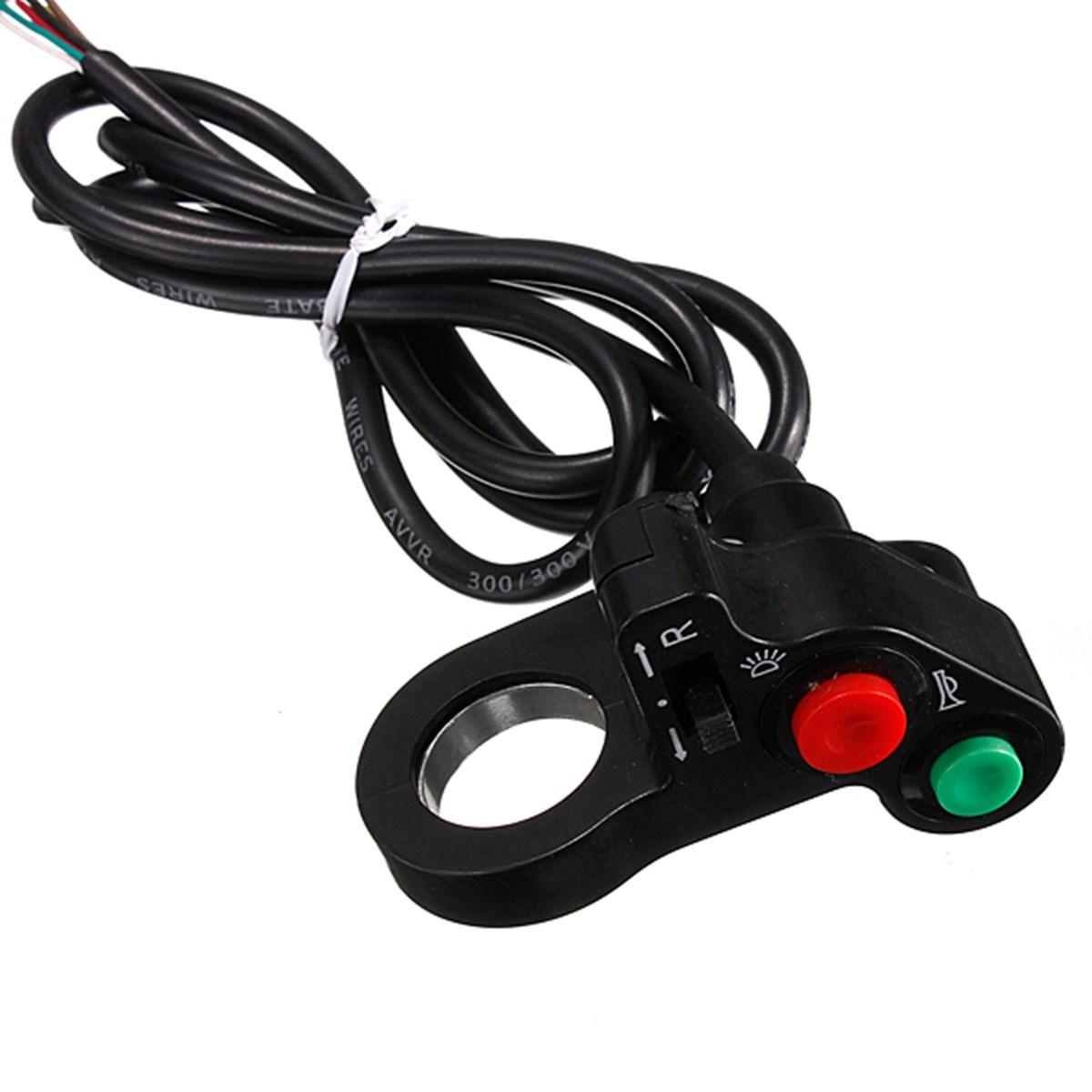 Audew 12v-и мото-рог указатель поворота включения / выключения кнопка W / красный зеленый для 7/8 '' руль байк мопедов ATV