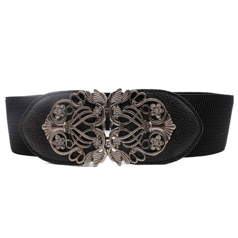 Amazing New Alloy Flower Vintage Belt For Women Lady Wide Elastic Belt Waistband for Fashion Apparel