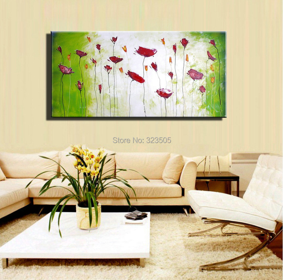 Large Decorative Cheap Wall Art Abstract Poppy Green