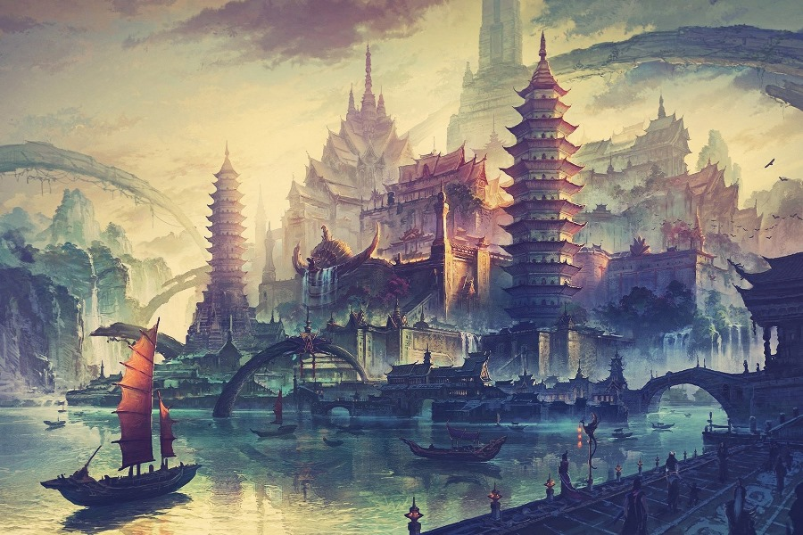 Living room bedroom <font><b>home</b></font> wall <font><b>decoration</b></font> fabric poster China fantasy traditional art sailship tower <font><b>Asian</b></font> architecture