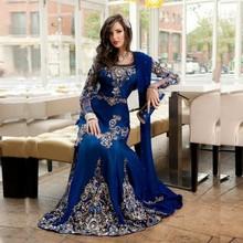 2016 Impressionante Azul Royal Frisado Vestido de Noite Muçulmano Mangas Compridas Kaftan Marroquino Vestido Cetim Stretch Chiffon Festa Vestidos FY171