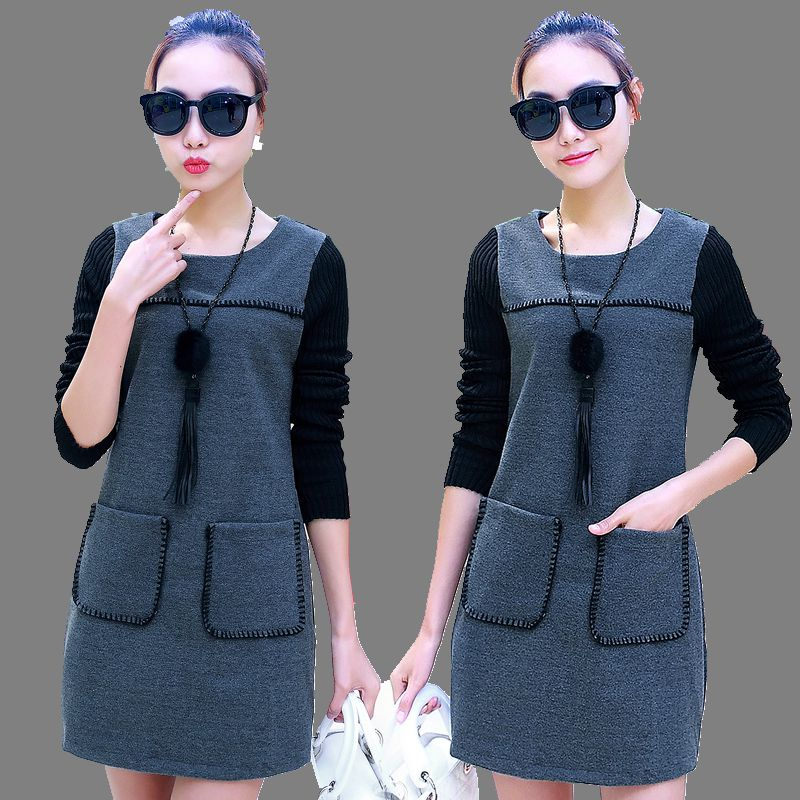 2016 Latest Autumn font b Winter b font Fashion Women Woolen Dress Long Section Large size