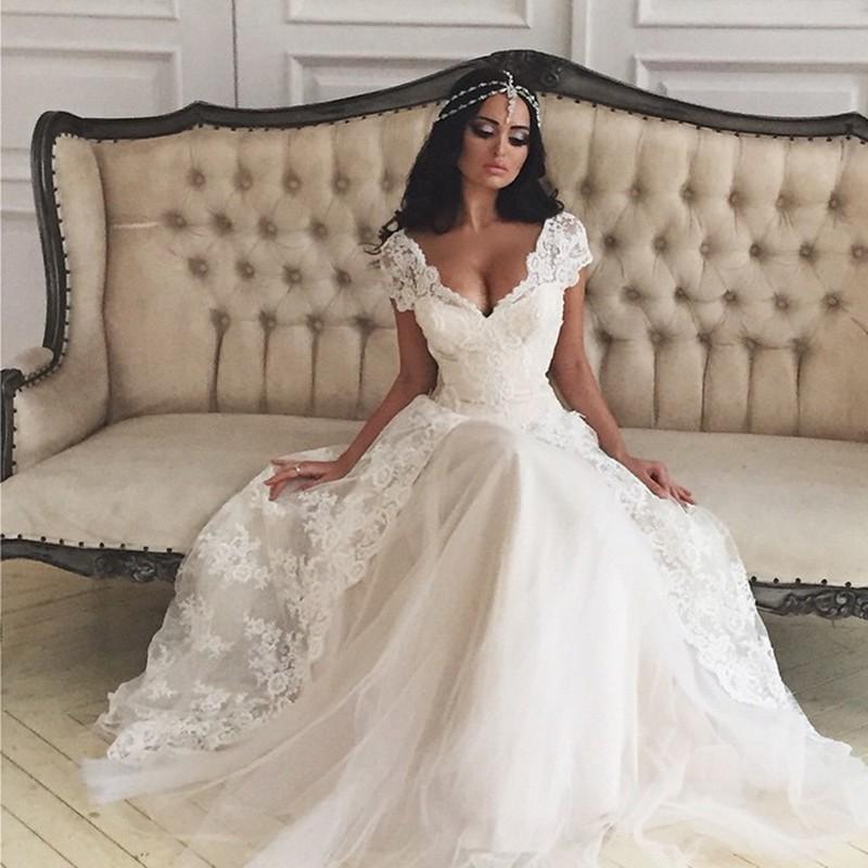 Custom Made Beach White Wedding Dress 2016 V Neck